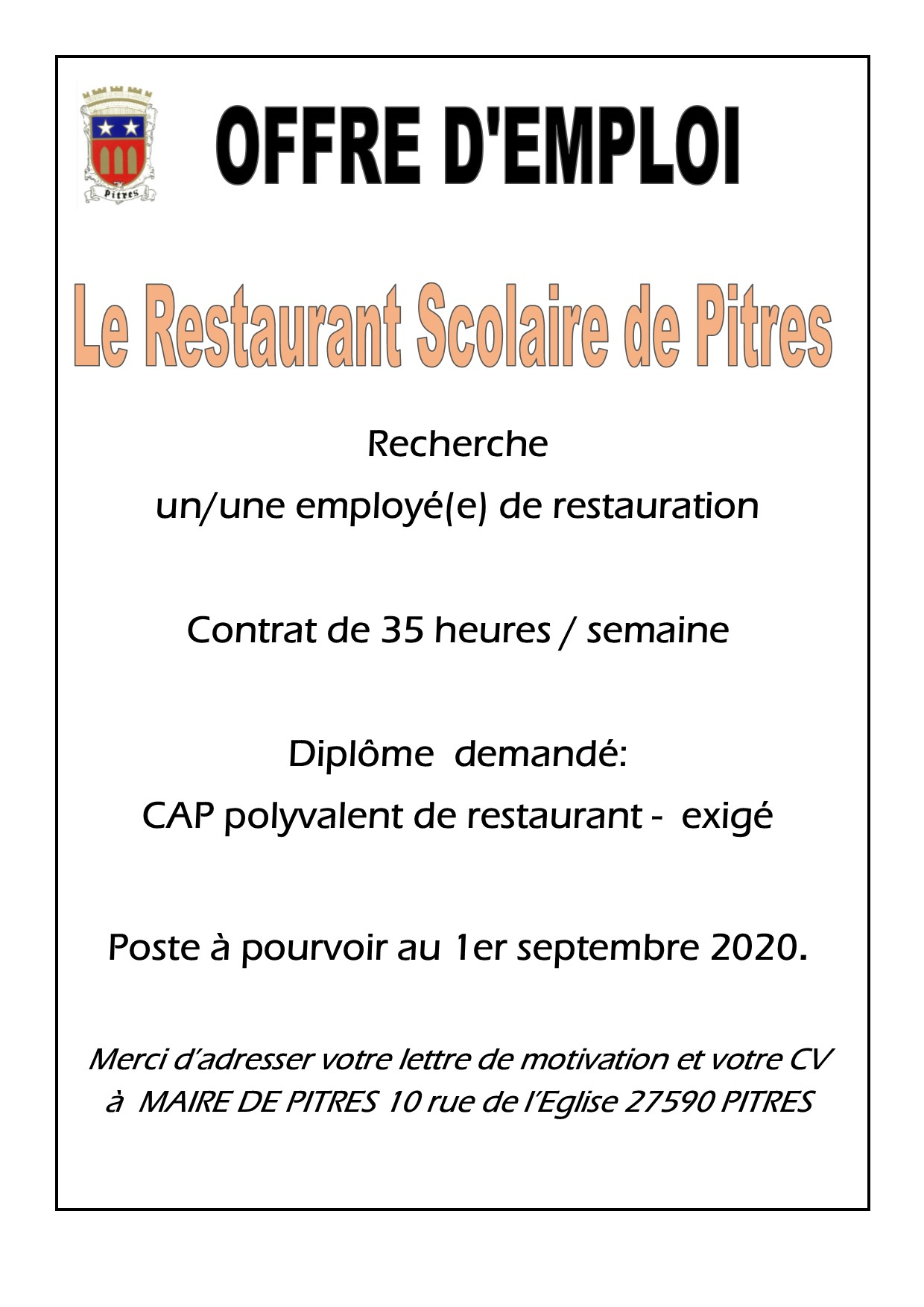 OFFRE EMPLOI CANTINE